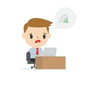 weak wifi signals marketing man on white background
