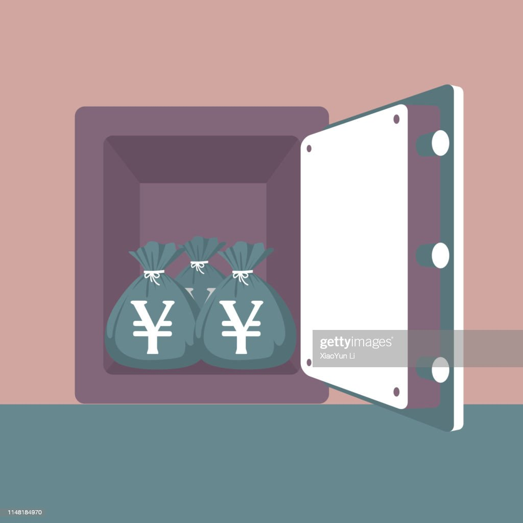 Wealth in the strongbox : stock illustration