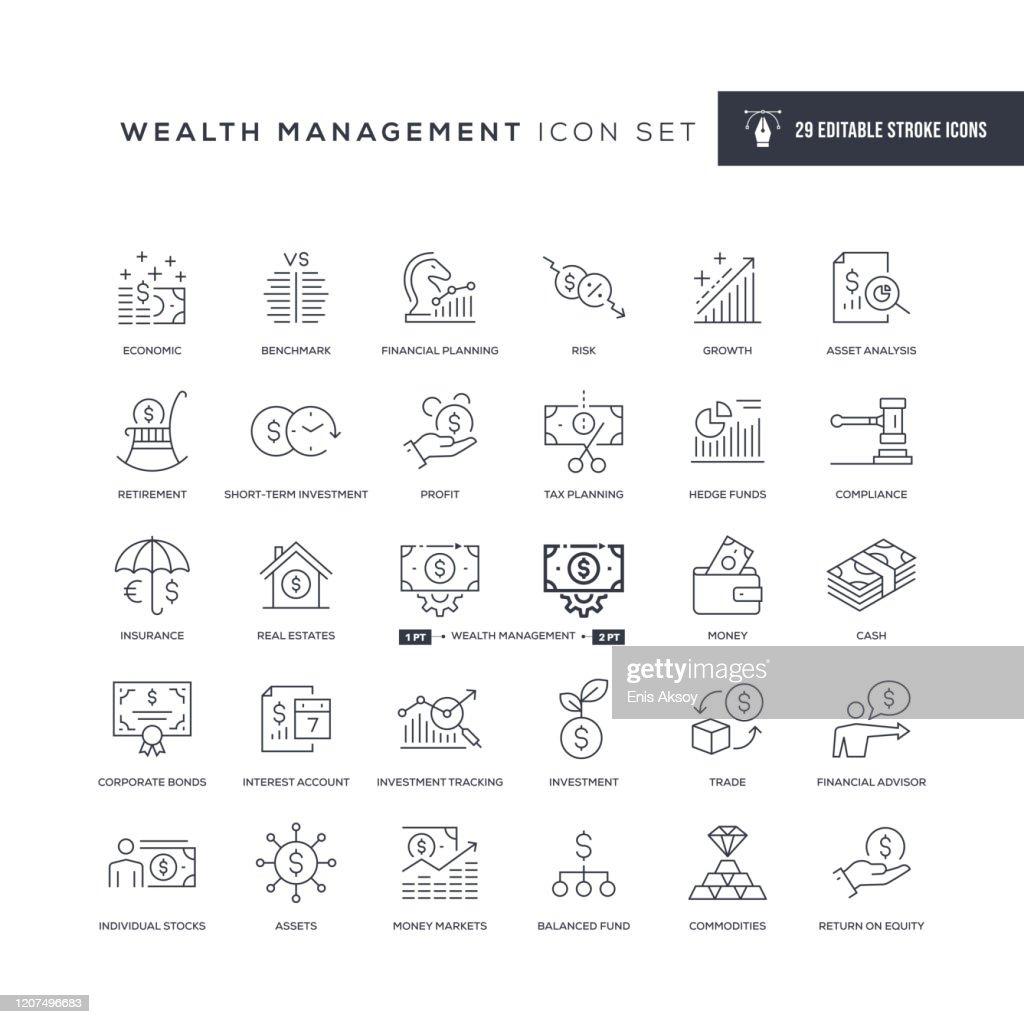 Wealth Management Bewerkbare lijnpictogrammen : Stockillustraties