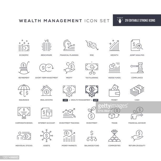 wealth management editable stroke line icons - loan stock illustrations