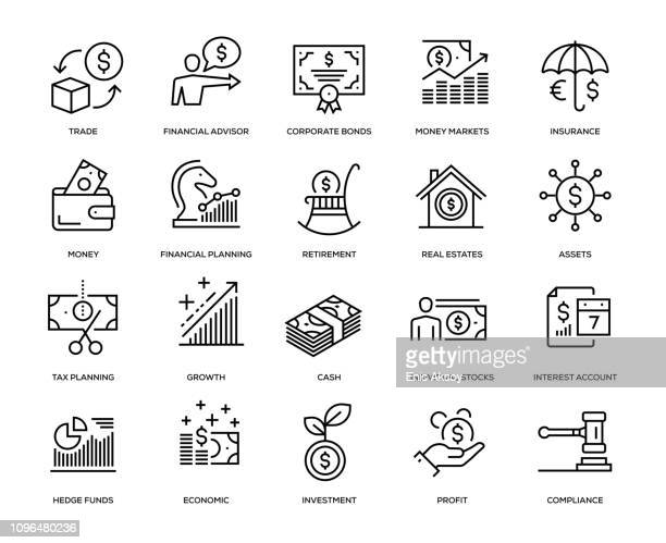 wealth management icon set - making money stock illustrations