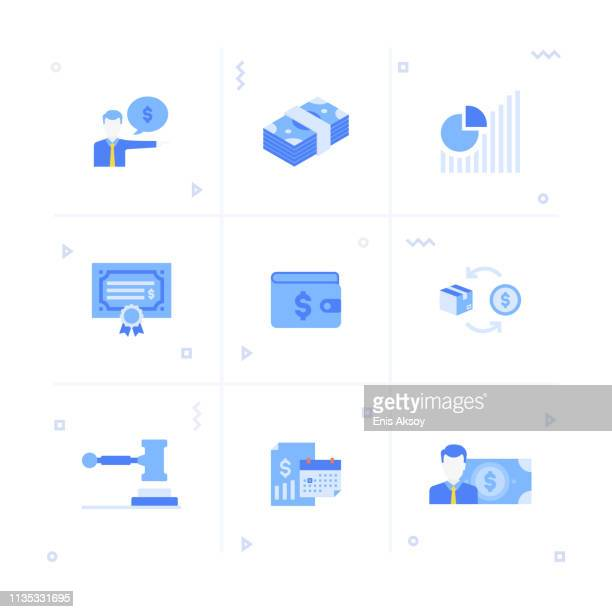 wealth management icon set - hedge fund stock illustrations, clip art, cartoons, & icons