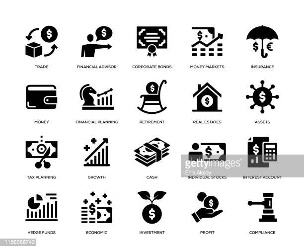 wealth management icon set - stock certificate stock illustrations