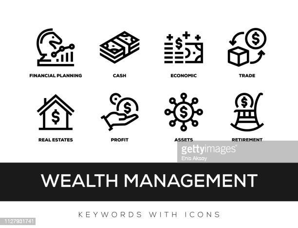 wealth management keywords with icons - hedge fund stock illustrations, clip art, cartoons, & icons