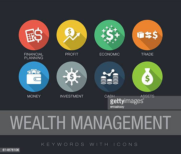 ilustraciones, imágenes clip art, dibujos animados e iconos de stock de wealth management keywords with icons - finanzas
