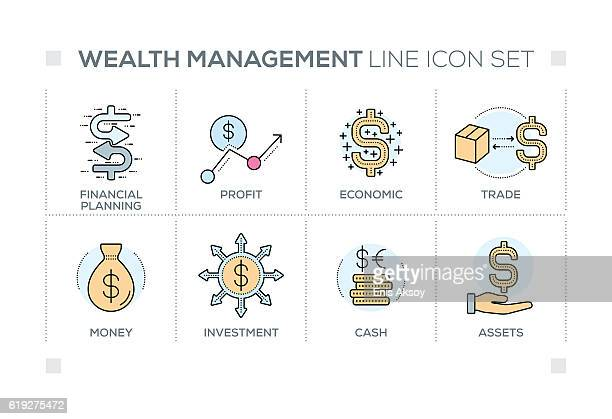 wealth management keywords with line icons - money manager stock illustrations, clip art, cartoons, & icons