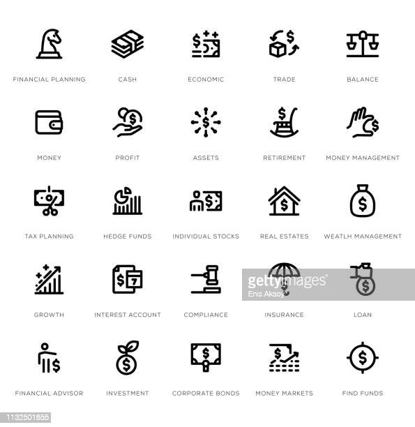 wealth management line icon set - hedge fund stock illustrations, clip art, cartoons, & icons