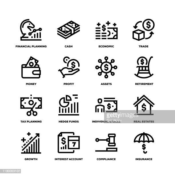 wealth management line icons - hedge fund stock illustrations, clip art, cartoons, & icons
