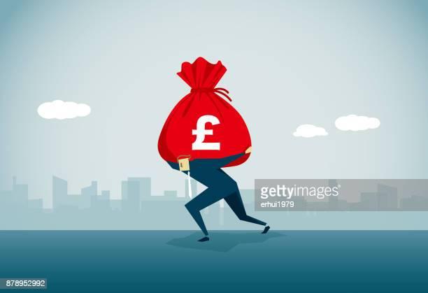 ilustraciones, imágenes clip art, dibujos animados e iconos de stock de riqueza - bolsa de dinero
