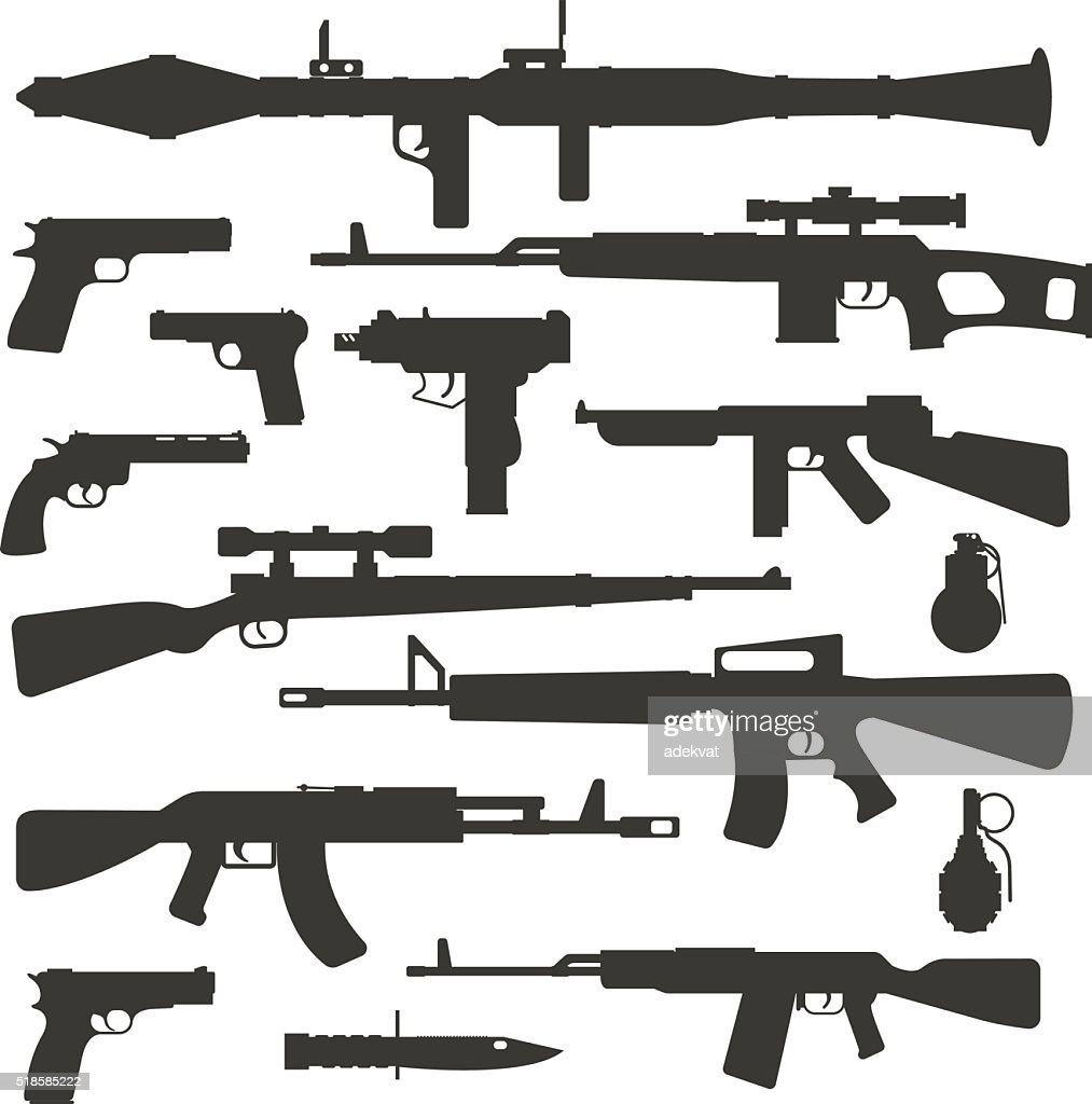 Weapon collection different military automatic gun shot machines silhouette police