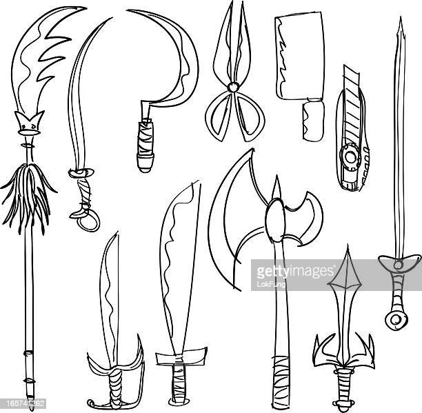 weapon collection in black and white - hatchet stock illustrations, clip art, cartoons, & icons