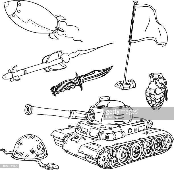illustrations, cliparts, dessins animés et icônes de arme collection en noir et blanc - guerre