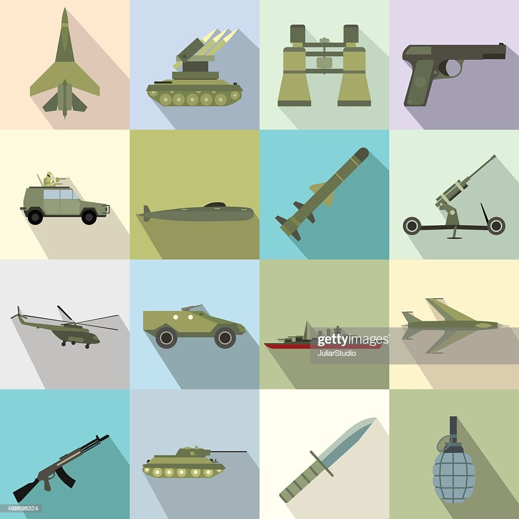 16 weapon flat icons set