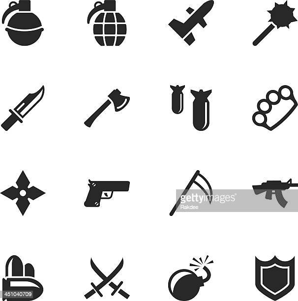 weapon silhouette icons - murder stock illustrations, clip art, cartoons, & icons