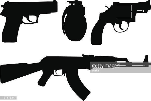 weapon - kalashnikov stock illustrations