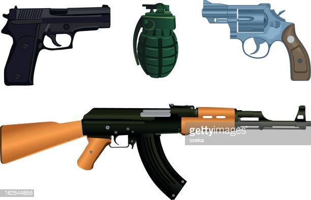 ilustraciones, imágenes clip art, dibujos animados e iconos de stock de arma - ak 47