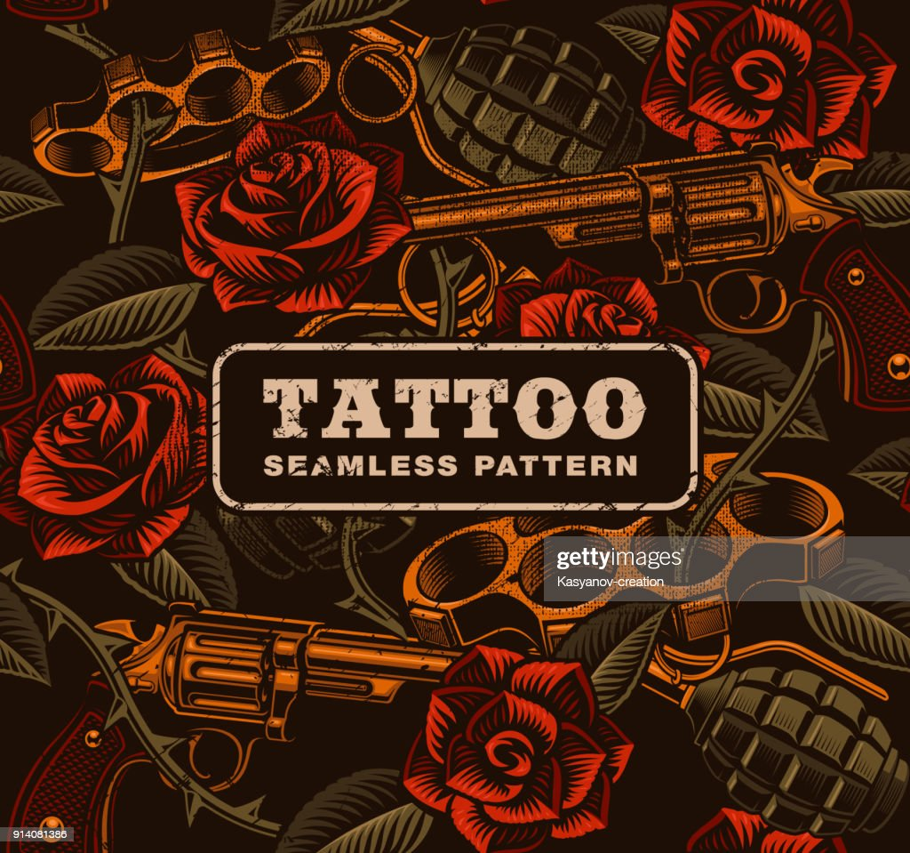 Weapon with roses, tattoo seamless pattern.