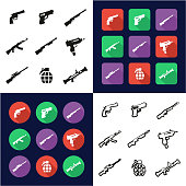 Weapons All in One Icons Black & White Color Flat Design Freehand Set