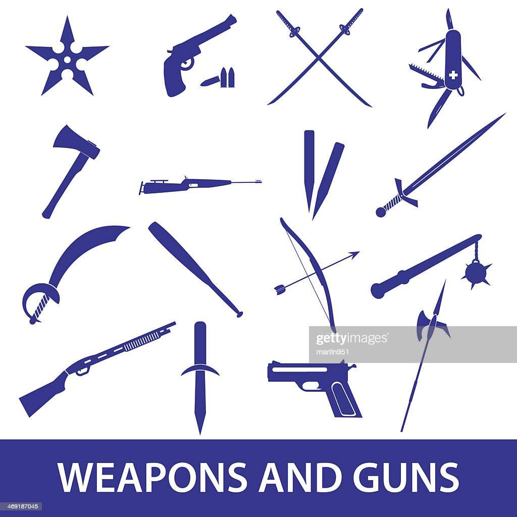weapons and guns icons eps10