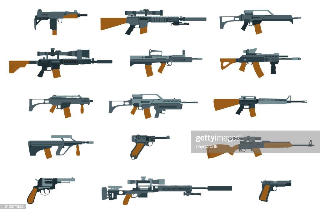 Weapons flat icons. Shotgun and machine gun