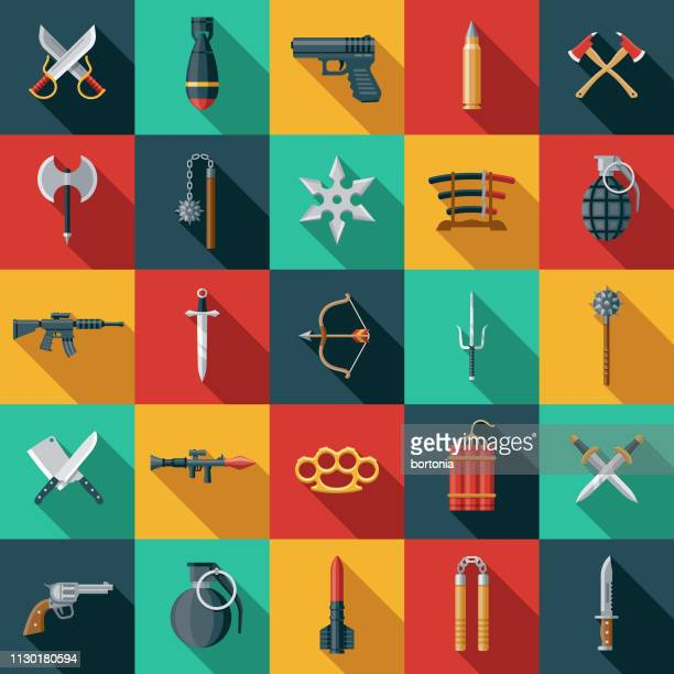 illustrations, cliparts, dessins animés et icônes de armes icon set - pistolet