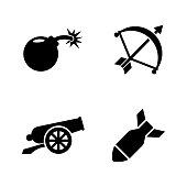 Weapons of War. Simple Related Vector Icons