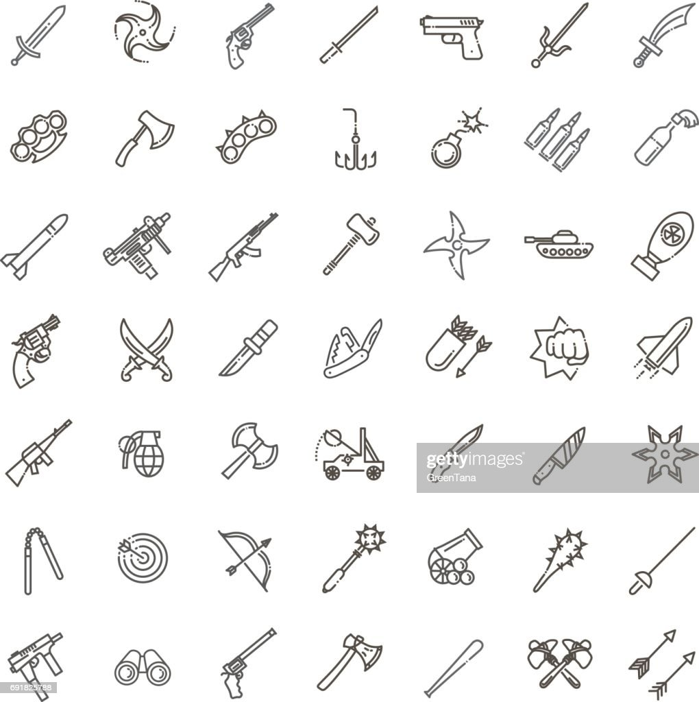 Weapons vector icons set, Arms solid symbol