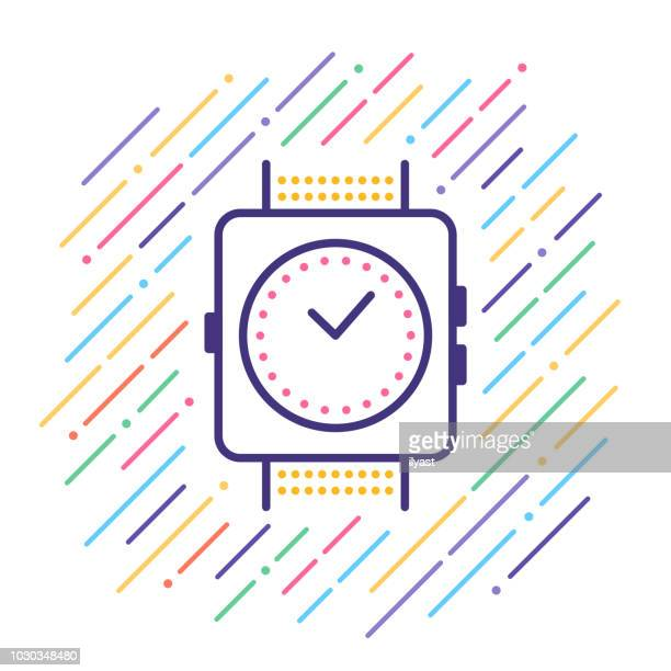 wearable technology line icon - fitness tracker stock illustrations, clip art, cartoons, & icons