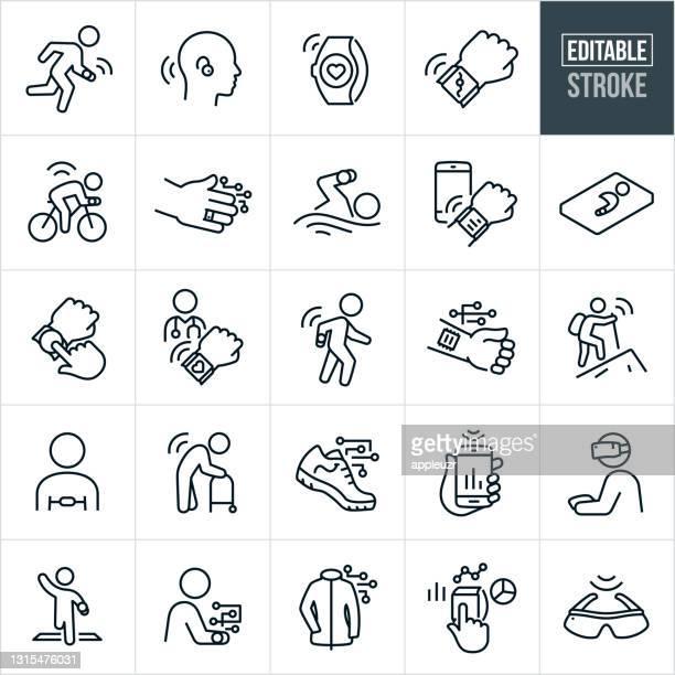 illustrazioni stock, clip art, cartoni animati e icone di tendenza di tecnologia indossabile icone di linea sottile - corsa ediabile - sensore