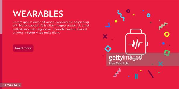 wearables concept. geometric pop art and retro style web banner and poster concept with smart watch icon. - cardiac conduction system stock illustrations