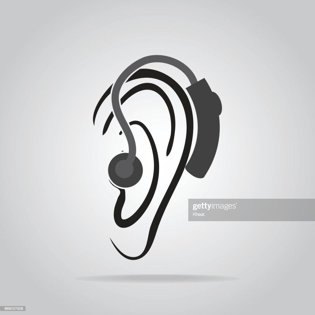 Hörgerätsymbol Gehör Und Ohrsymbol Tragen Vektorgrafik | Getty Images