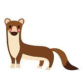 Weasel animal cartoon character vector illustration.
