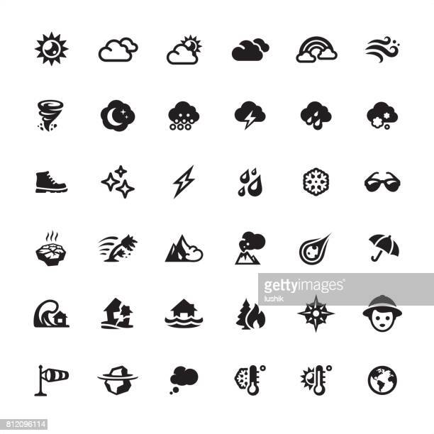 weather and climate icons set - overcast stock illustrations, clip art, cartoons, & icons