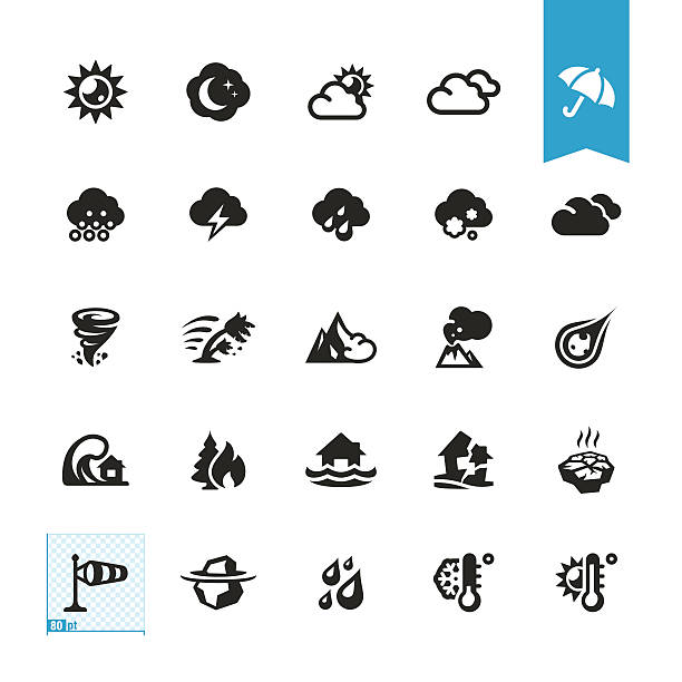 weather and natural disaster vector icons - melting stock illustrations