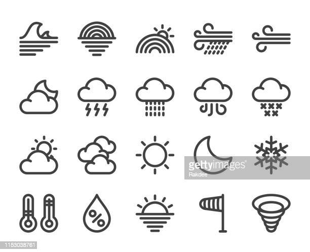 weather - bold line icons - humidity stock illustrations, clip art, cartoons, & icons