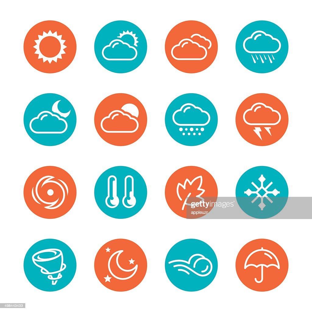 Weather Circle Icons : stock illustration