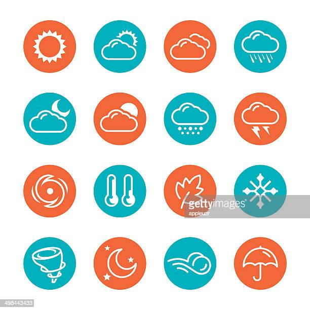 weather circle icons - hurricane stock illustrations, clip art, cartoons, & icons