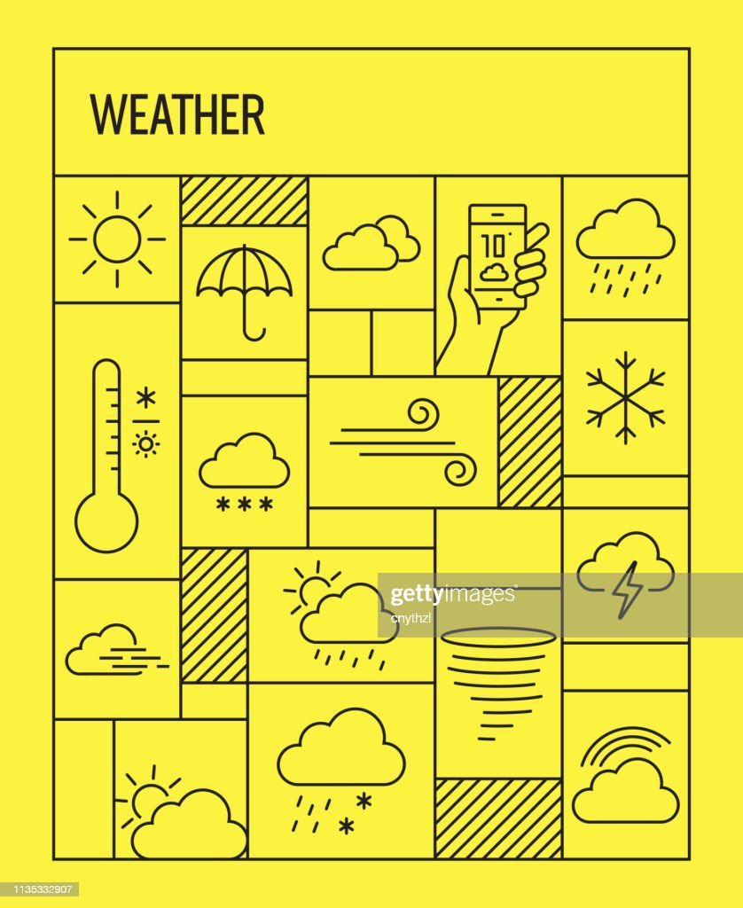 Weather Concept. Geometric Retro Style Banner and Poster Concept with Weather Related Line Icons : stock illustration