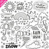 Weather Design elements. Black and White Vector Doodle Illustration Set. Editable Stroke.