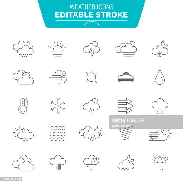 weather editable line icons - wind stock illustrations
