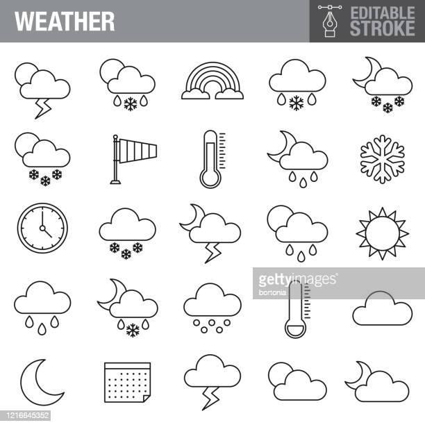 wetter editierbarer strich icon set - meteorologie stock-grafiken, -clipart, -cartoons und -symbole