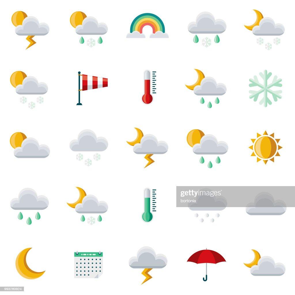 Weather Flat Design Icon Set : Stock Illustration