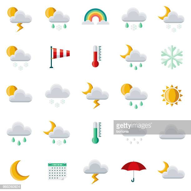 weather flat design icon set - weather stock illustrations