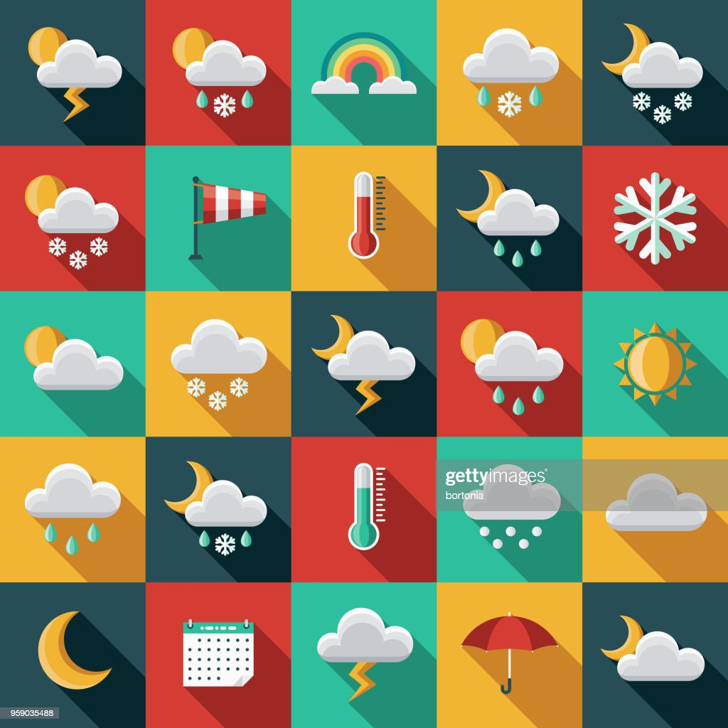 Weather Flat Design Icon Set with Side Shadow