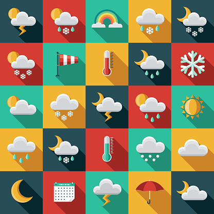 Weather Flat Design Icon Set with Side Shadow - gettyimageskorea