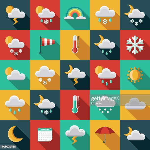 weather flat design icon set with side shadow - climate stock illustrations