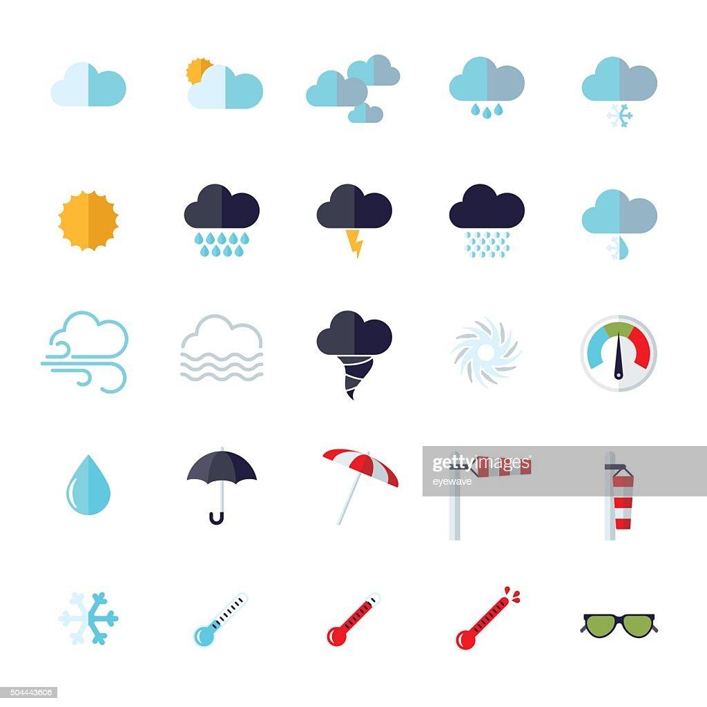 weather flat design isolated icons set