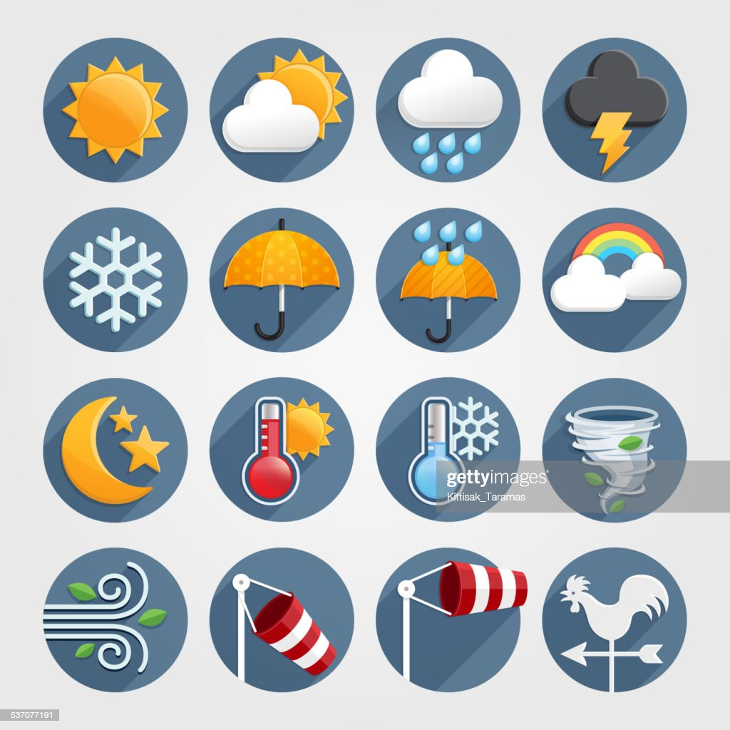 Weather flat icons color set.