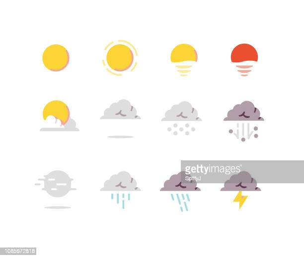 weather flat icons series 1 - weather stock illustrations