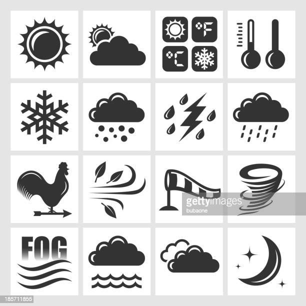 weather forecast black & white royalty free vector icon set - overcast stock illustrations, clip art, cartoons, & icons